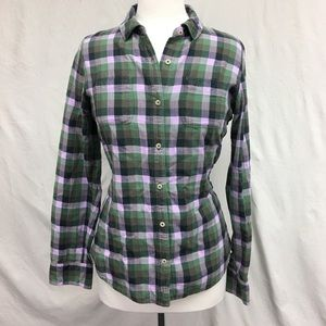 North Face Plaid Flannel Button Up Purple Shirt